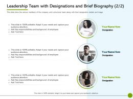 Pitch Deck To Leadership Team With Designations And Brief Biography Responsibilities Ppt Guidelines