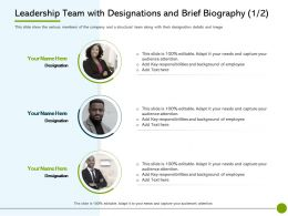 Pitch Deck To Public Leadership Team With Designations And Brief Biography Designation Ppts Tips