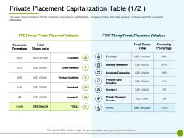Pitch Deck To Public Offering Private Placement Capitalization Table Shares Value Ppt Shapes