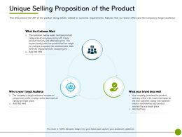 Pitch Deck To Public Offering Unique Selling Proposition Of The Product Customer Want Ppts Slides