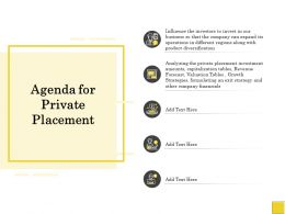 Pitch Deck To Raise Agenda For Private Placement Diversification Ppt Powerpoint Designs