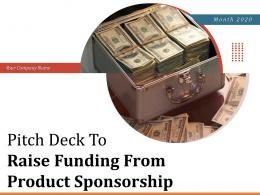 Pitch Deck To Raise Funding From Product Sponsorship Powerpoint Presentation Slides