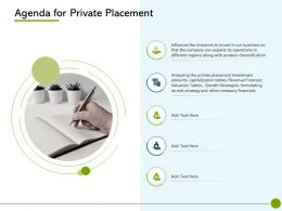 Pitch Deck To Raise Non Public Offering Agenda For Private Placement Diversification Ppts Deck