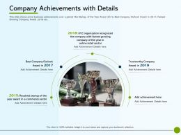 Pitch Deck To Raise Non Public Offering Company Achievements With Details Retail Sector Ppts Rules