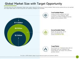 Pitch Deck To Raise Non Public Offering Global Market Size With Target Opportunity Ppt Clipart