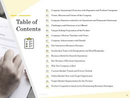 Pitch Deck To Raise Table Of Contents Revenue Generation Ppts Icons