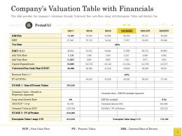 Pitch Deck To Raise Table With Financials Capital Expenditures Ppts Information