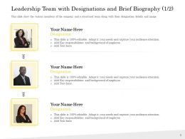 Pitch Deck To Raise Team With Designations And Brief Biography Responsibilities Ppts Icons