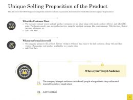 Pitch Deck To Raise Unique Selling Proposition Of The Product Target Audience Ppts Slides