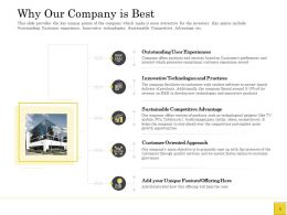 Pitch Deck To Raise Why Our Company Is Best Innovative Technologies Ppts Slides