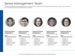 Pitchbook For Merger Deal Senior Management Team Ppt Powerpoint Graphics Tutorials