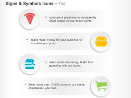 Pizza Slice Cheese Burger Ham Burger Shopping Cart Ppt Icons Graphics