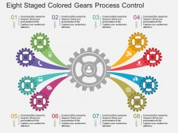 Pj Eight Staged Colored Gears Process Control Flat Powerpoint Design