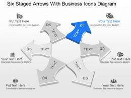 pj Six Staged Arrows With Business Icons Diagram Powerpoint Template