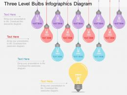 pj Three Level Bulbs Infographics Diagram Flat Powerpoint Design