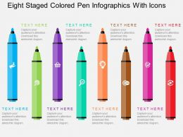 Pk Eight Staged Colored Pen Infographics With Icons Flat Powerpoint Design