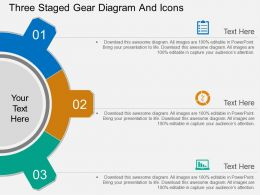 pk Three Staged Gear Diagram And Icons Flat Powerpoint Design