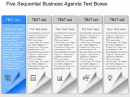 pl Five Sequential Business Agenda Text Boxes Powerpoint Template