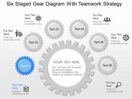 pl Six Staged Gear Diagram With Teamwork Strategy Powerpoint Template