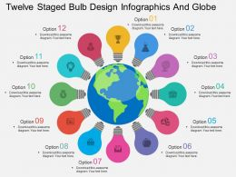 pl Twelve Staged Bulb Design Infographics And Globe Flat Powerpoint Design