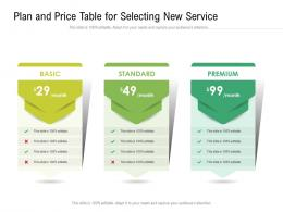 Plan And Price Table For Selecting New Service Infographic Template