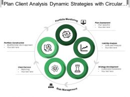 Plan Client Analysis Dynamic Strategies With Circular Arrows And Icons