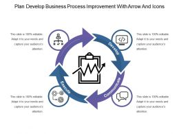 Plan Develop Business Process Improvement With Arrow And Icons