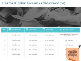 Plan For Reporting Back And A Feedback Loop Cause Ppt Powerpoint Introduction