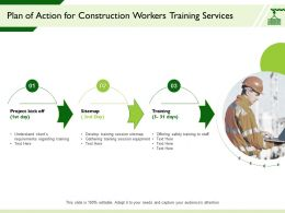 Plan Of Action For Construction Workers Training Services Session Equipment Ppt Presentation Designs