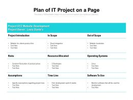 Plan Of It Project On A Page
