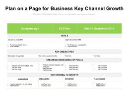 Plan On A Page For Business Key Channel Growth