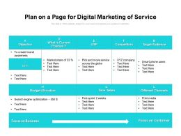 Plan On A Page For Digital Marketing Of Service