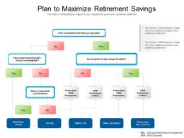 Plan To Maximize Retirement Savings