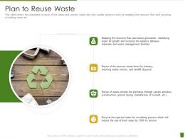 Plan To Reuse Waste Industrial Waste Management Ppt Visual Aids Deck