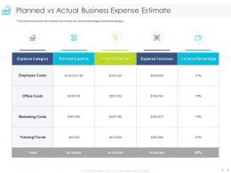 Planned Vs Actual Business Expense Estimate Marketing Ppt Powerpoint Presentation Styles Icon