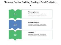 Planning Control Building Strategy Build Portfolio Deploy Portfolio