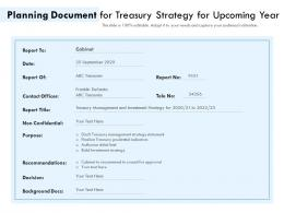 Planning Document For Treasury Strategy For Upcoming Year