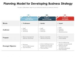 Planning Model For Developing Business Strategy