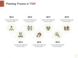 Planning Process In TQM Timeline Gears E220 Ppt Powerpoint Presentation File Display