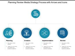 Planning Review Media Strategy Process With Arrows And Icons