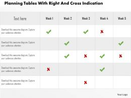 Planning Tables With Right And Cross Indication Flat Powerpoint Design
