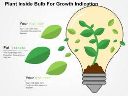Plant Inside Bulb For Growth Indication Flat Powerpoint Design