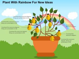 Plant With Rainbow For New Ideas Flat Powerpoint Design