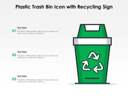 Plastic Trash Bin Icon With Recycling Sign
