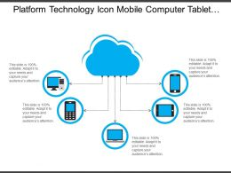 Platform Technology Icon Mobile Computer Tablet Cloud Computer Information