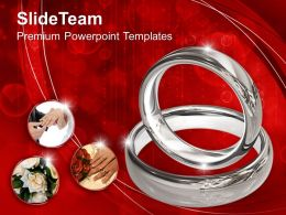 Platinum Wedding Rings On Red Background Powerpoint Templates Ppt Themes And Graphics 0113