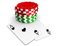 Play Poker Game With Red Green Chips And Two Aces Stock Photo