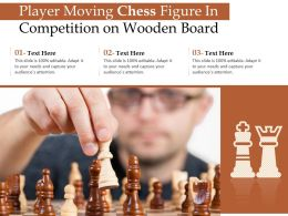 Player Moving Chess Figure In Competition On Wooden Board