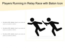 Players Running In Relay Race With Baton Icon