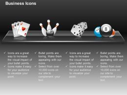 Playing Cards Bowling Dices Billiards Ppt Icons Graphics
